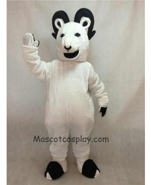 High Quality Realistic New White Sheep Big Horned Mascot Costume