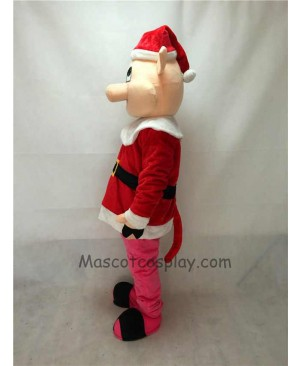 Cute Hog with Santa Coat & Hat Christmas Mascot Costume