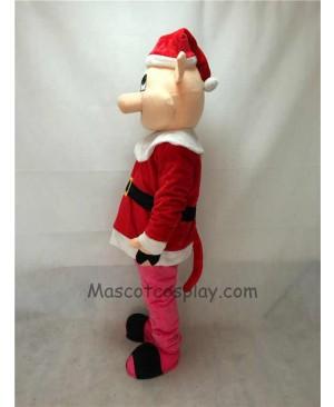 Cute Hog with Santa Coat & Hat Christmas Mascot Costume