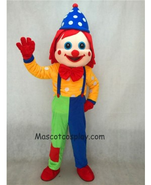 Hot Sale Adorable Realistic New Blue Hat Clown Adult Funny Mascot Costume