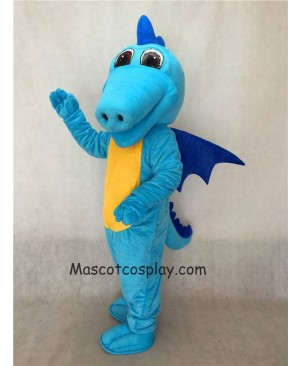 Hot Sale Adorable Realistic New Light Blue Turquoise Dragon Mascot Costume with Dark Blue Wings