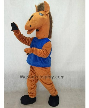Hot Sale Adorable Realistic New Brown Mustang Mascot Costume with Blue Vest