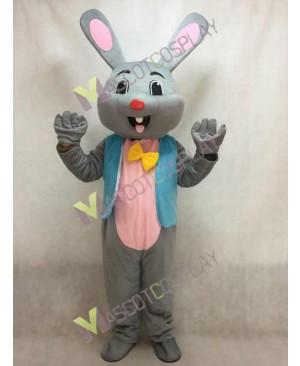 Easter Grey Bunny Rabbit Hare Mascot Costume in Blue Vest