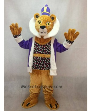 Hot Sale Adorable Realistic New King Lionel Lion Mascot Costume with Purple Clothes and Crown