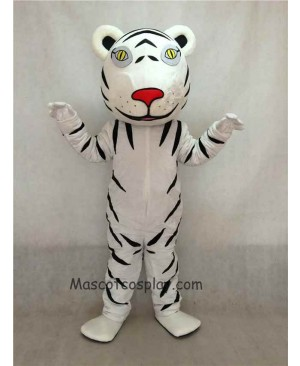 Hot Sale Adorable Realistic New White Tiger Cub Mascot Costume with Black Stripes