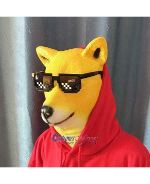 Latex Shiba Inu Dog Mask Full Head Animal Mask Cosplay Masquerade