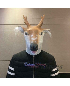 Latex Sika Deer Mask Full Head Animal Mask Cosplay Masquerade