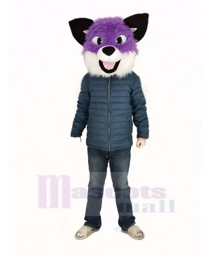 Purple Husky Dog Mascot Costume Head Only