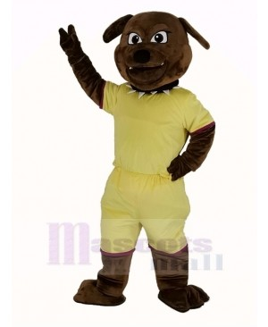 Brown Bulldog with Yellow Coat Mascot Costume Animal