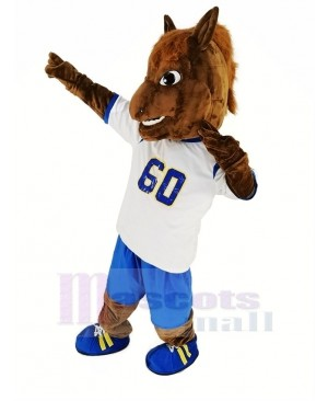 Brown Horse Race with Sport Shirt Mascot Costume