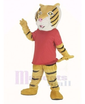 Happy Tiger in Red T-shirt Mascot Costume
