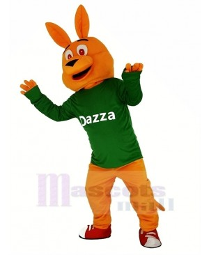 Orange Kangaroo with Long Sleeve Mascot Costume Animal
