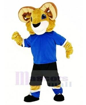 Sport Ram with Blue T-shirt Mascot Costume Animal