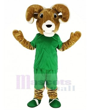 Sport Brown Ram with Green T-shirt Mascot Costume