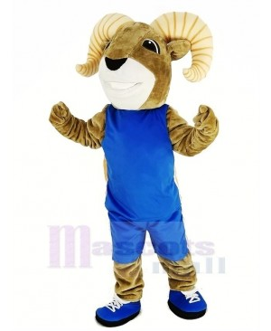 Power Sport Ram with Sportswear Mascot Costume Yellow Stripe