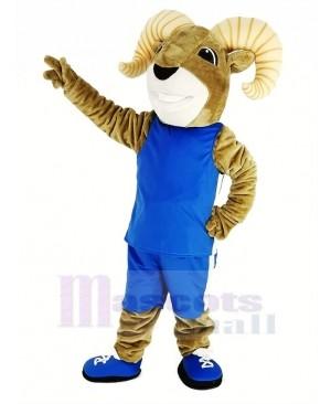 Power Sport Ram with Blue Sportswear Mascot Costume