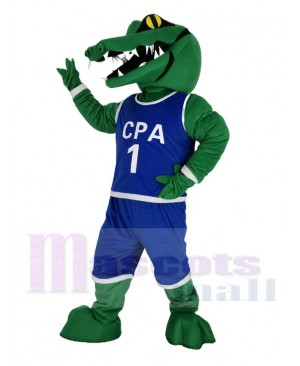 Green Alligator in Blue Sweatshirt Mascot Costume