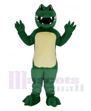 Green Alligator with Yellow Eyes Mascot Costume Animal