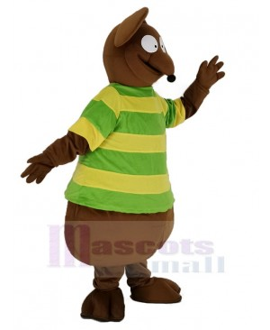 Brown Mouse with Green T-shirt Mascot Costume