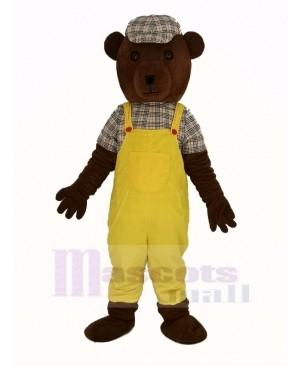 Teddy Bear in Yellow Overalls Mascot Costume Cartoon