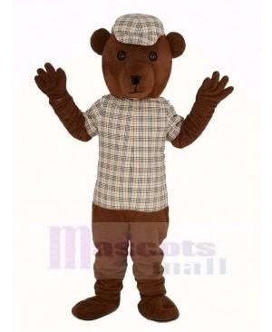 Teddy Bear in Striped Clothes Mascot Costume Cartoon
