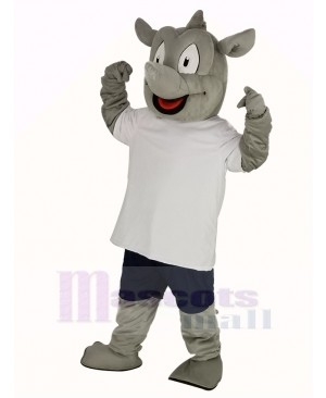 Rhino in White T-shirt Mascot Costume