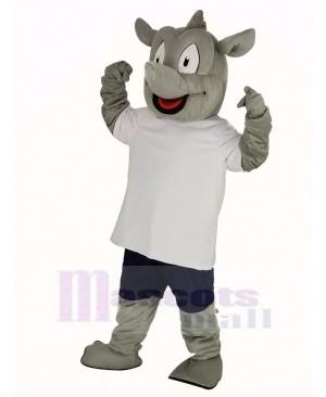 Rhino in White T-shirt Mascot Costume
