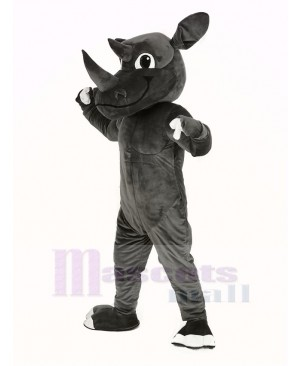 Muscle Gray Rhino Mascot Costume Animal
