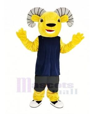Light Brown Sport Ram with Blue Vest Mascot Costume Animal