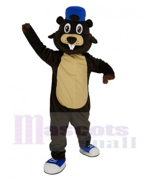 Brown Beaver with Blue Hat Mascot Costume