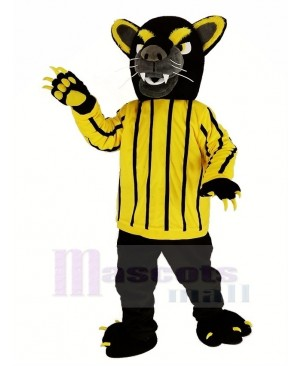 Black Panther in Yellow Striped Clothes Mascot Costume Animal