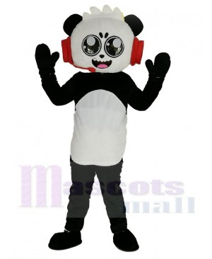 Combo Panda with Red Headset from Ryan's World Mascot Costume Cartoon