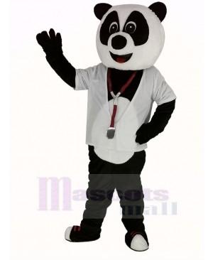 Doctor Panda with White Shirt Mascot Costume
