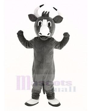 Happy Grey Bull Mascot Costume