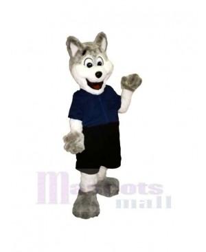 Gray and White Police Dog Mascot Costume Cartoon