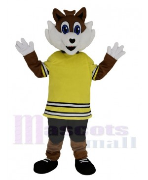 Sport Fox in Yellow T-shirt Mascot Costume