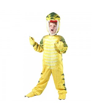 Yellow T-Rex Dinosaur Costume Dinosaur Jumpsuit Halloween Christmas Dress up Gift for Kid