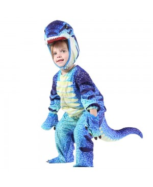 Blue T-Rex Dinosaur Costume Dinosaur Jumpsuit Halloween Christmas Dress up Gift for Kid