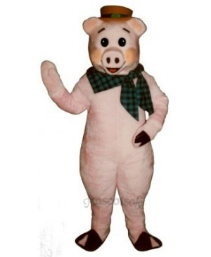Cute State Fair Pig with Hat & Scarf Mascot Costume