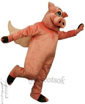 Flying Hog Pig Piglet Mascot Costume