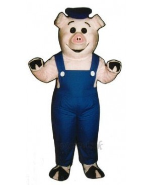 Cute Sailor Piglet Pig Hog with Overalls & Hat Mascot Costume
