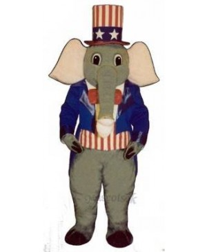 Cute Patriotic Elephant Mascot Costume