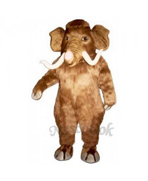 Cute Mammoth Elephant with Long Tusks Mascot Costume
