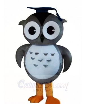 Gray Doctor Owl Mascot Costumes with Cap Animal