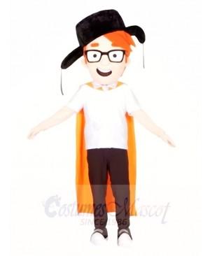 Black Hat Boy with Orange Cloak Mascot Costumes People