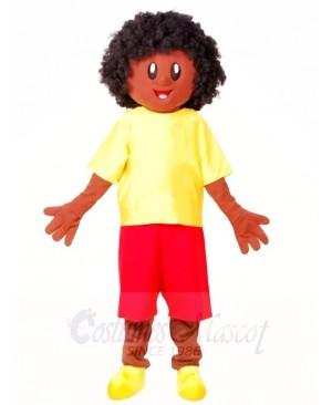 Yellow Shirt African Boy Mascot Costumes People