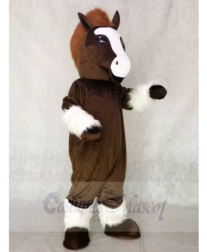 Cute Brown Shirley Shire Horse Mascot Costume