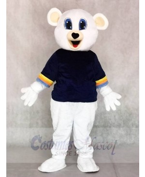 Cute White Bear with Black Shirt Mascot Costumes Animal