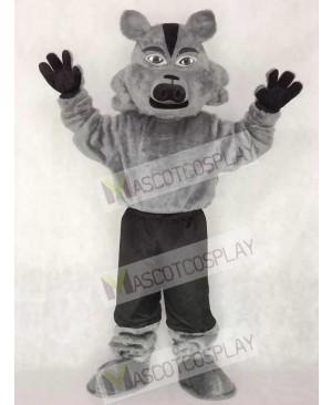 Cute Grey Pro Wolf Mascot Costume