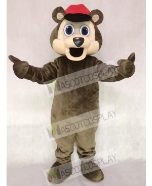 Brown Bear with a Red Hat Mascot Costume
